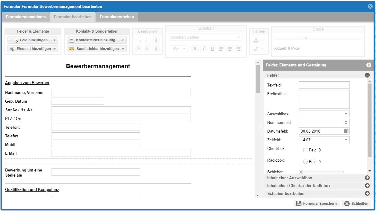 Modul Ereignisse - Formular Bewerbermanagement anlegen