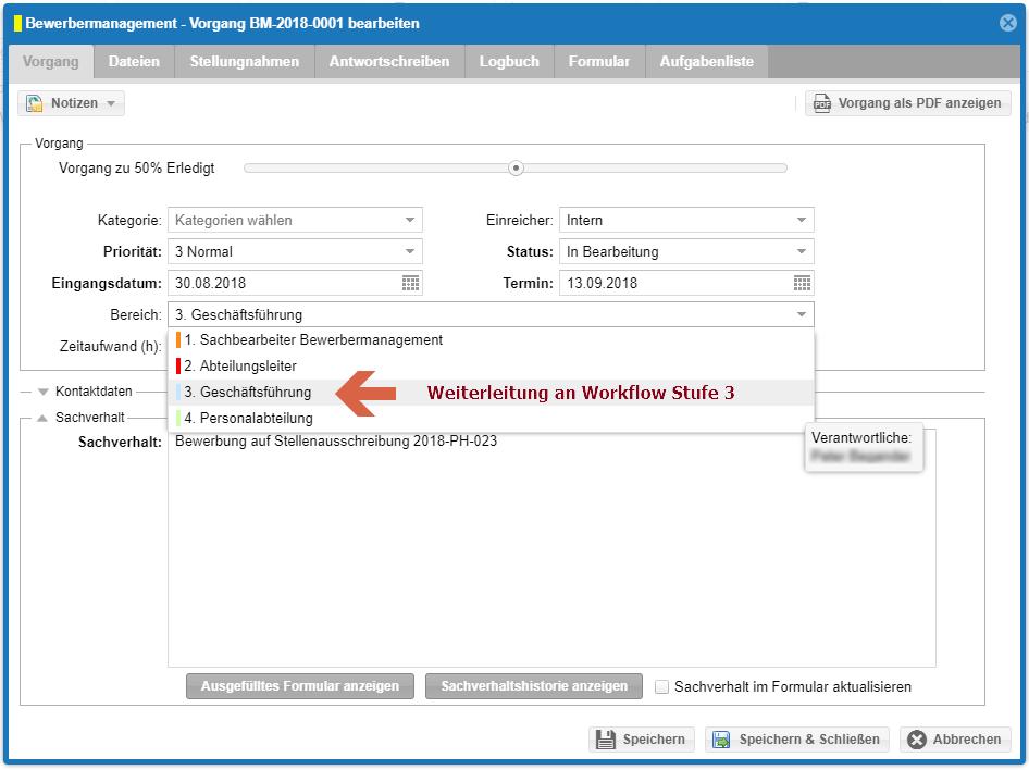 Modul Ereignisse - Bewerbermanagement Weiterleitung an Workflow Stufe 3