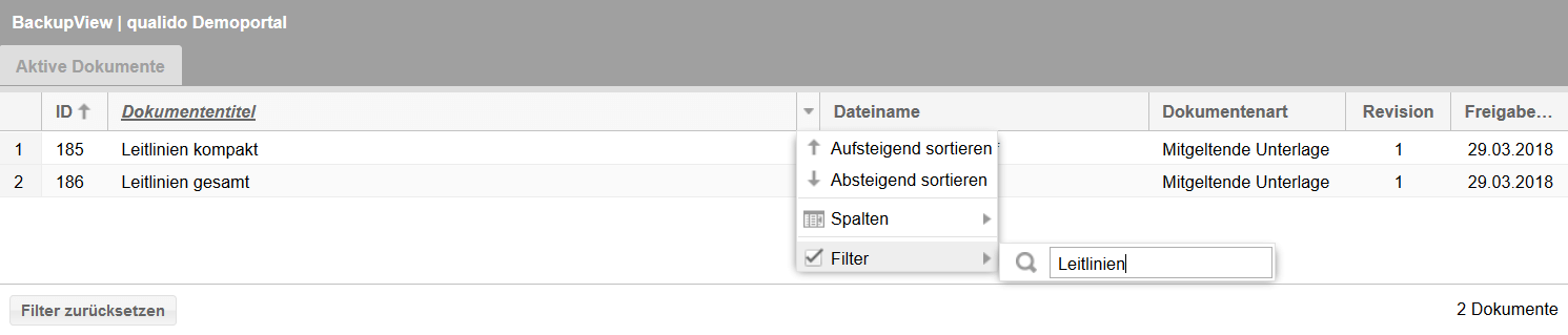 Offline-BackupView Filter verwenden