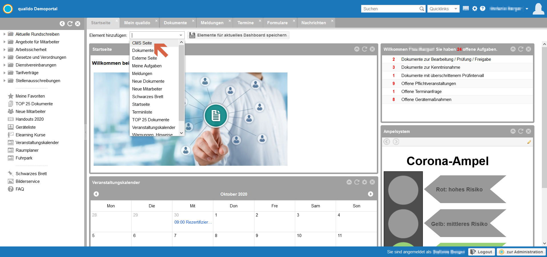 qualido Corona-Ampel Screenshot Element auf Startseite einbinden