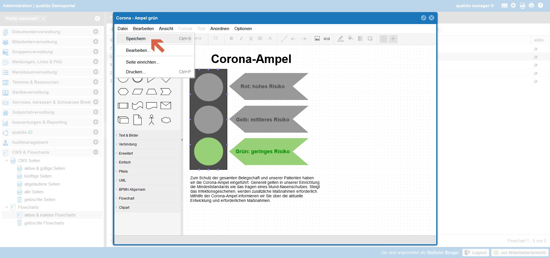 qualido Corona-Ampel Screenshot Flowchart speichern