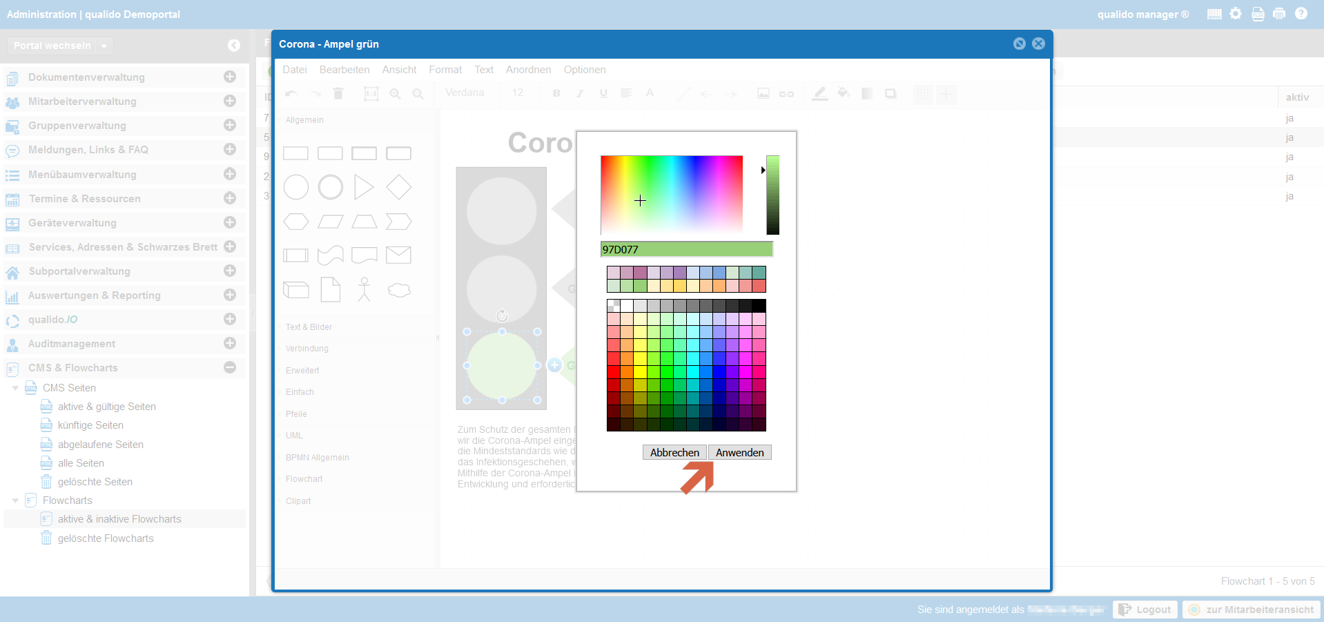 qualido Corona-Ampel Screenshot Flowcharts Füllfarbe ändern