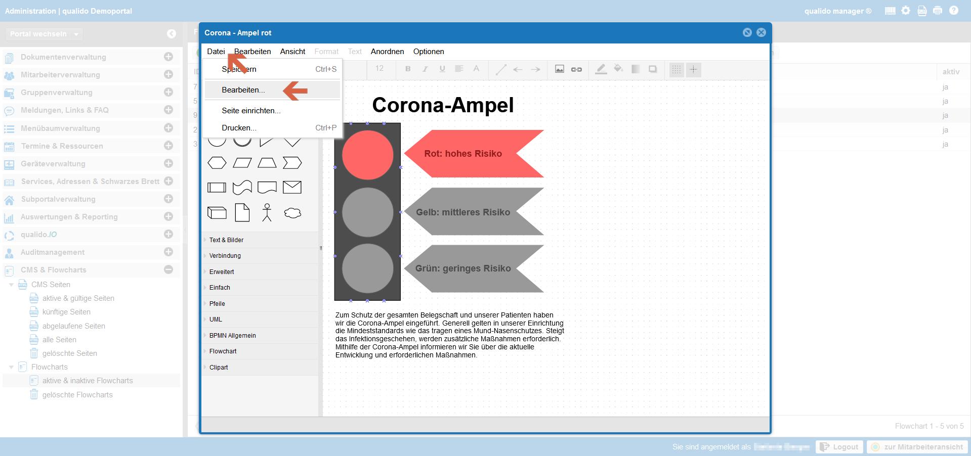 qualido Corona-Ampel Screenshot Flowcharts Quellcode öffnen