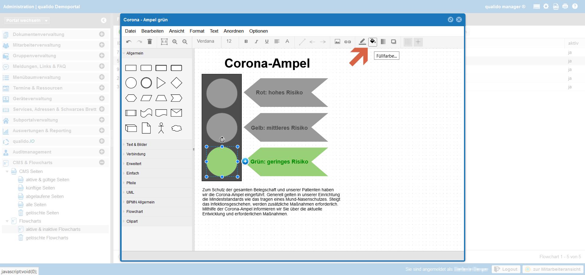 qualido Corona-Ampel Screenshot Flowcharts Symbolfarbe anpassen